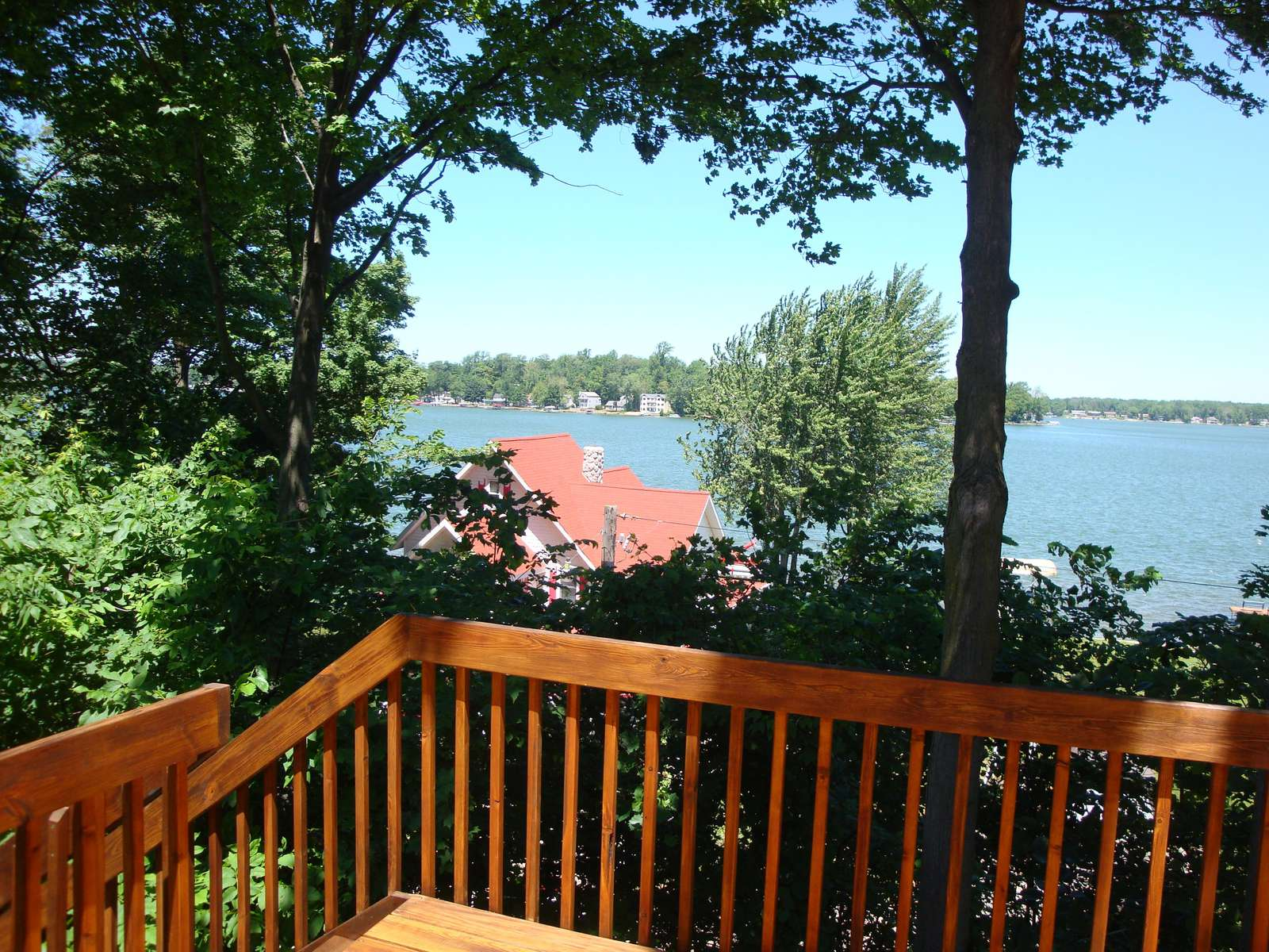 Rear Deck with view of Paw Paw Lake