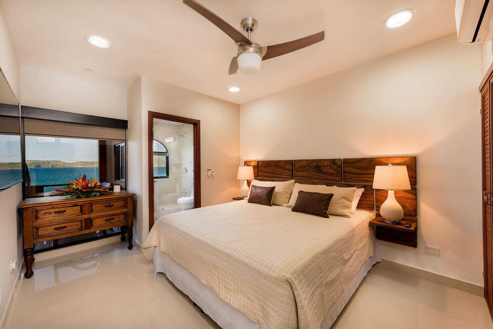Master bedroom, king bed, private bath with ocean views
