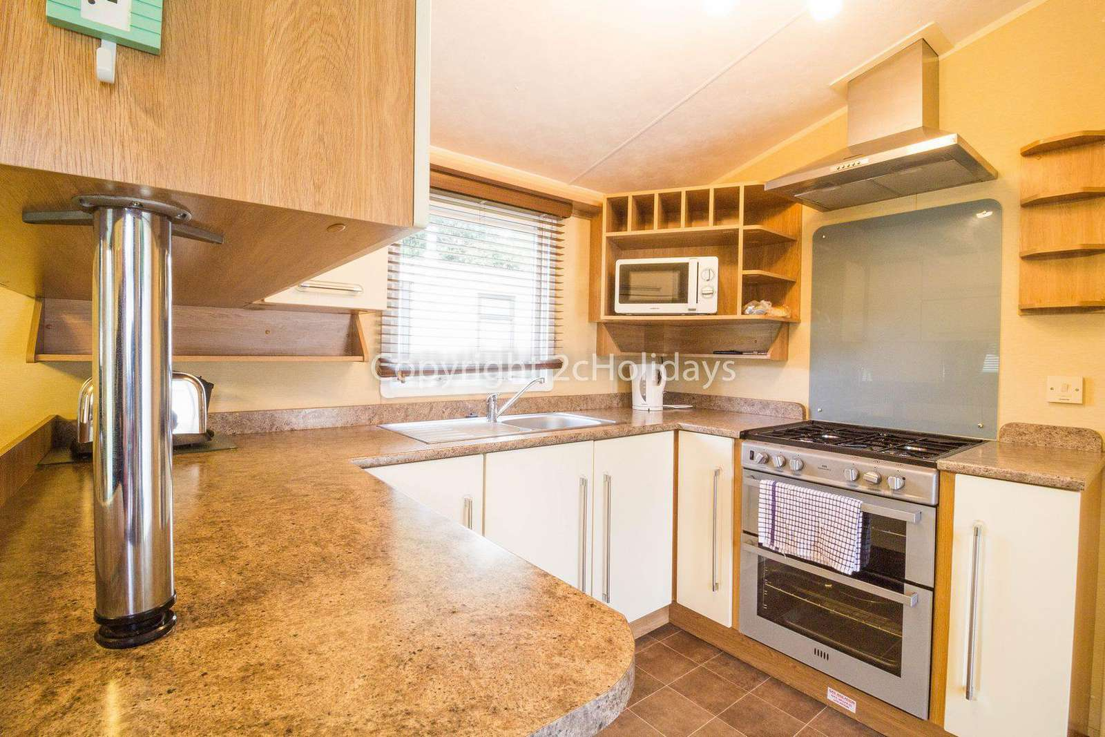 Modern and Stylish kitchen in this 8 berth luxury caravan at the Wild Duck Holiday Park.
