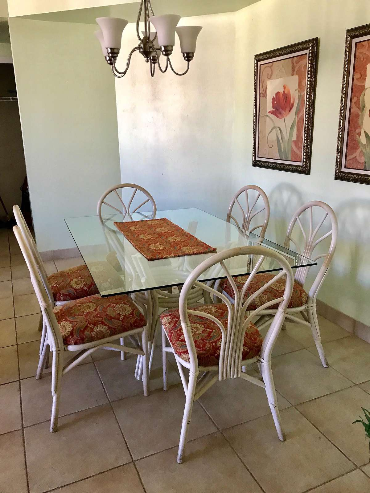 The dining room table seats 6.