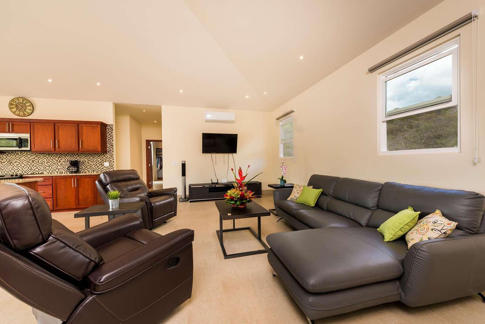 Living area, large LED TV