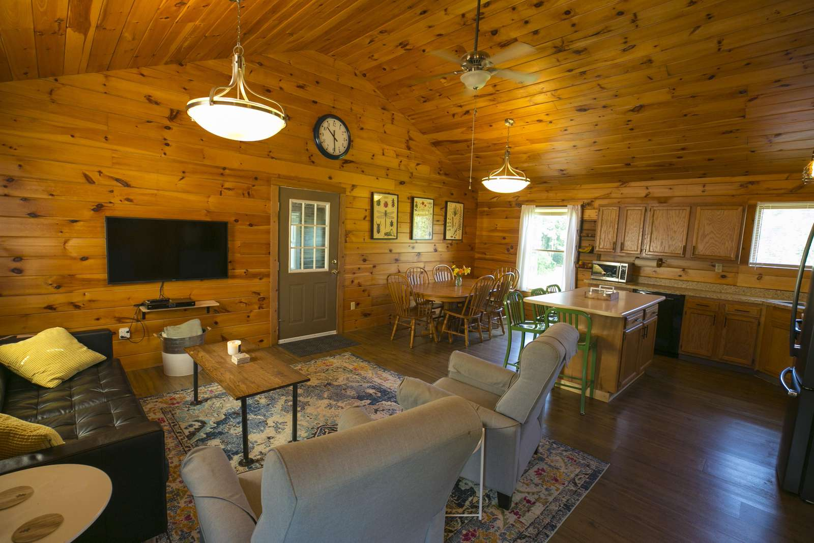 Upstairs family room and kitchen