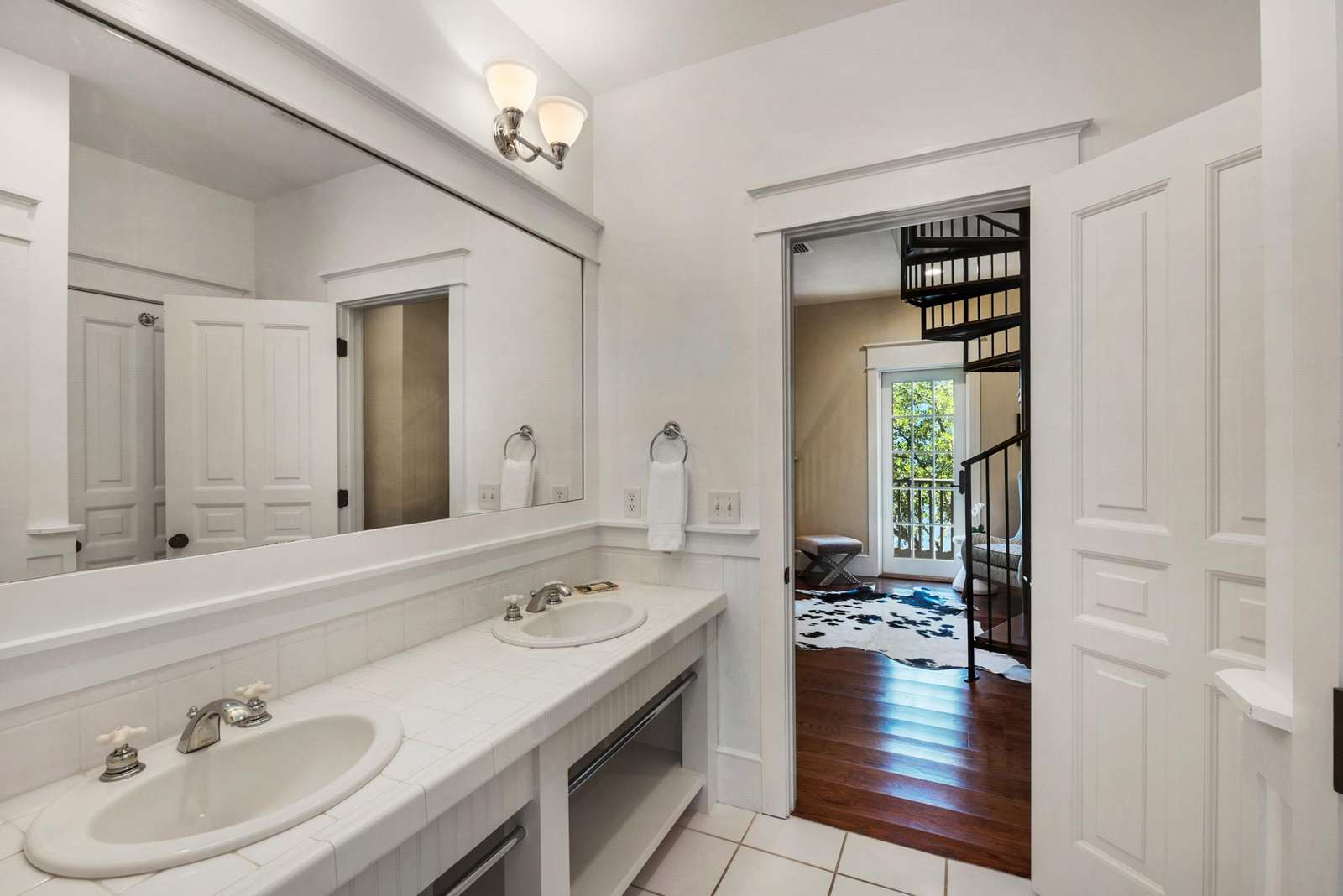 Shared Bathroom with Bunk Room and Queen Bedroom w/tub Shower Combination