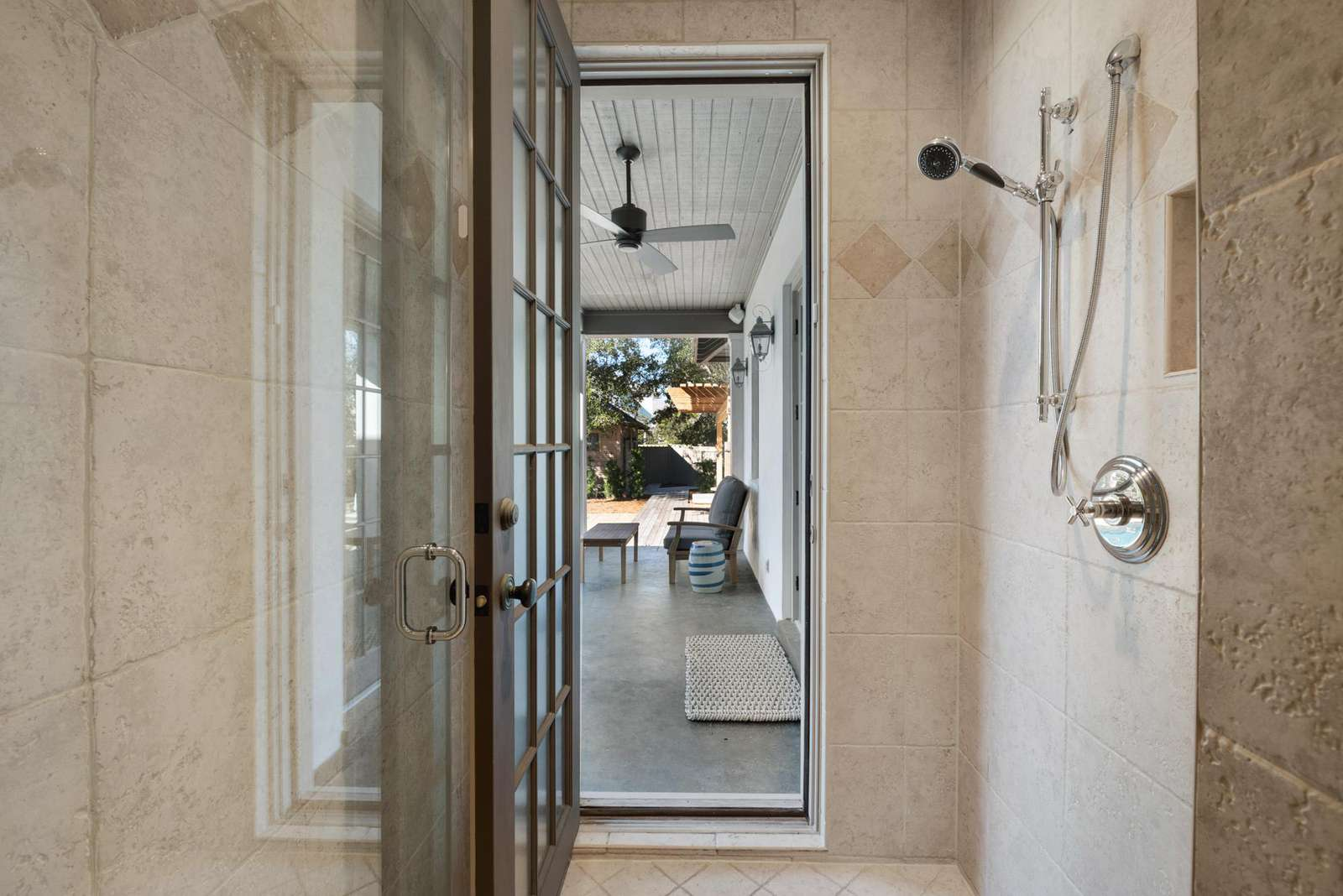 Shower that Leads to Outside Courtyard