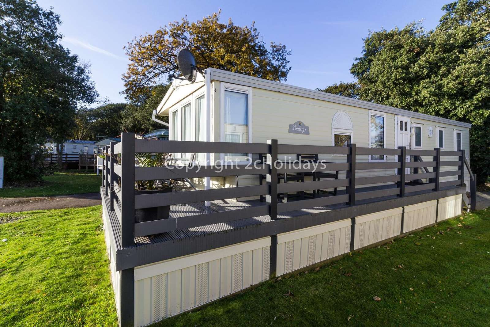 Pet friendly accommodation with decking at Azure Seas Holiday Village - property
