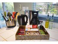 Electric kettle (hot pot), coffee maker, coffee & tea. thumb