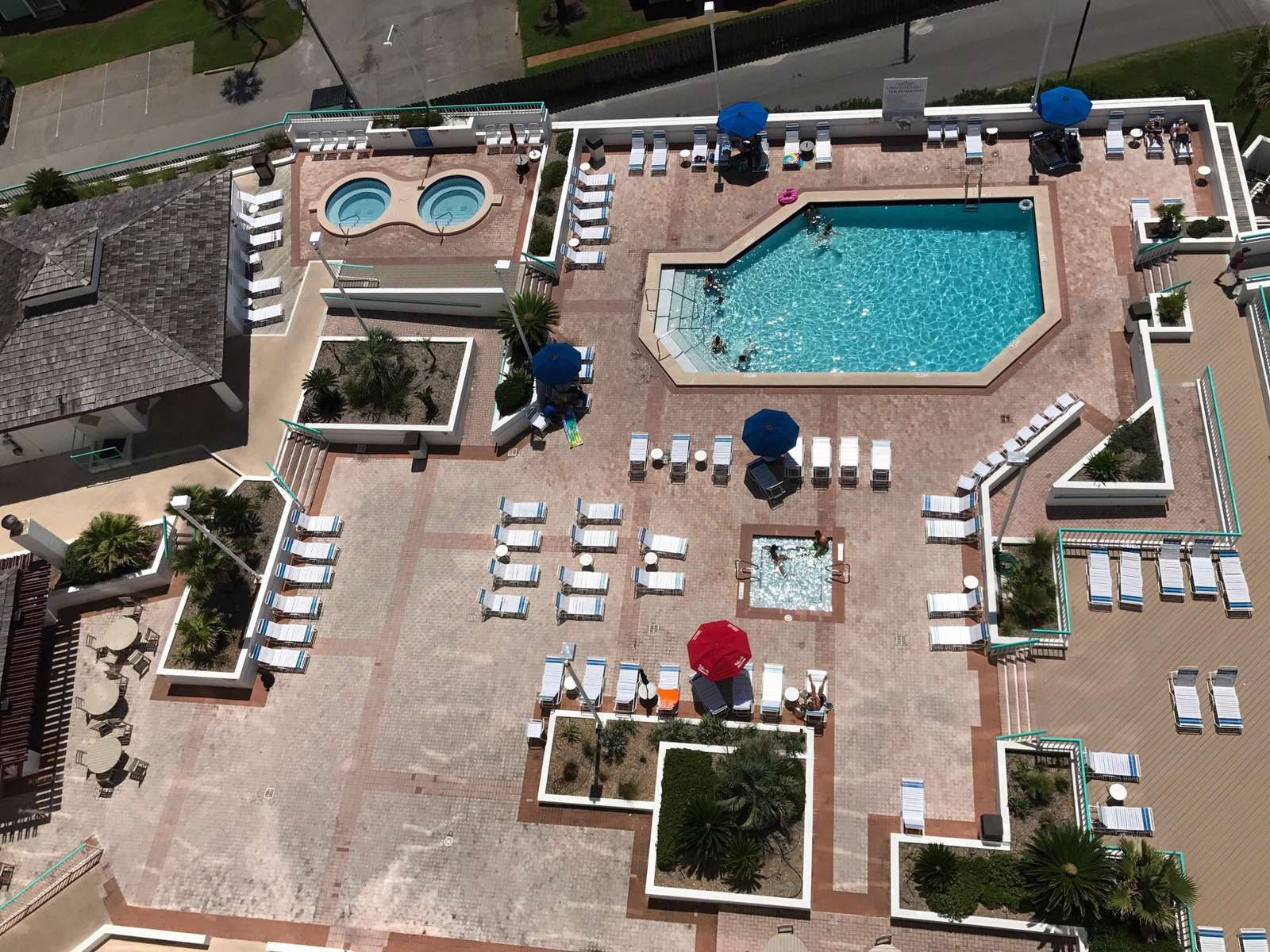 Ariel view of the pool deck.