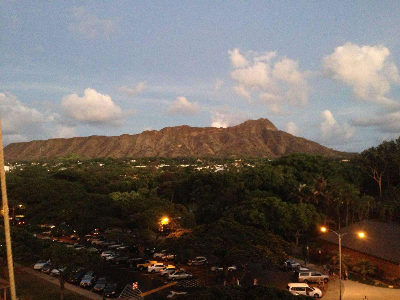 Diamond Head appears to change color at sunset.