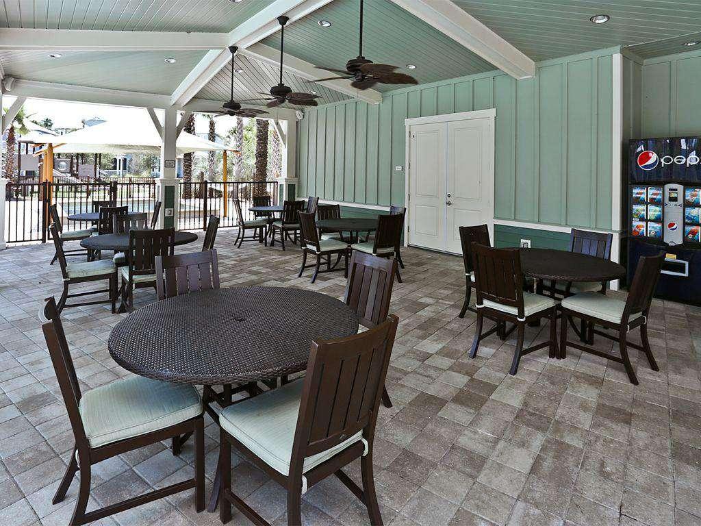 shaded seating at pools