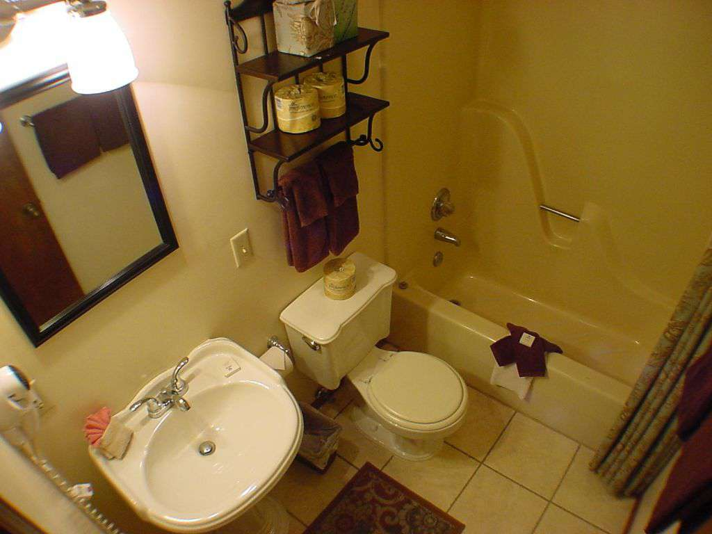 Common guest bathroom off hall.