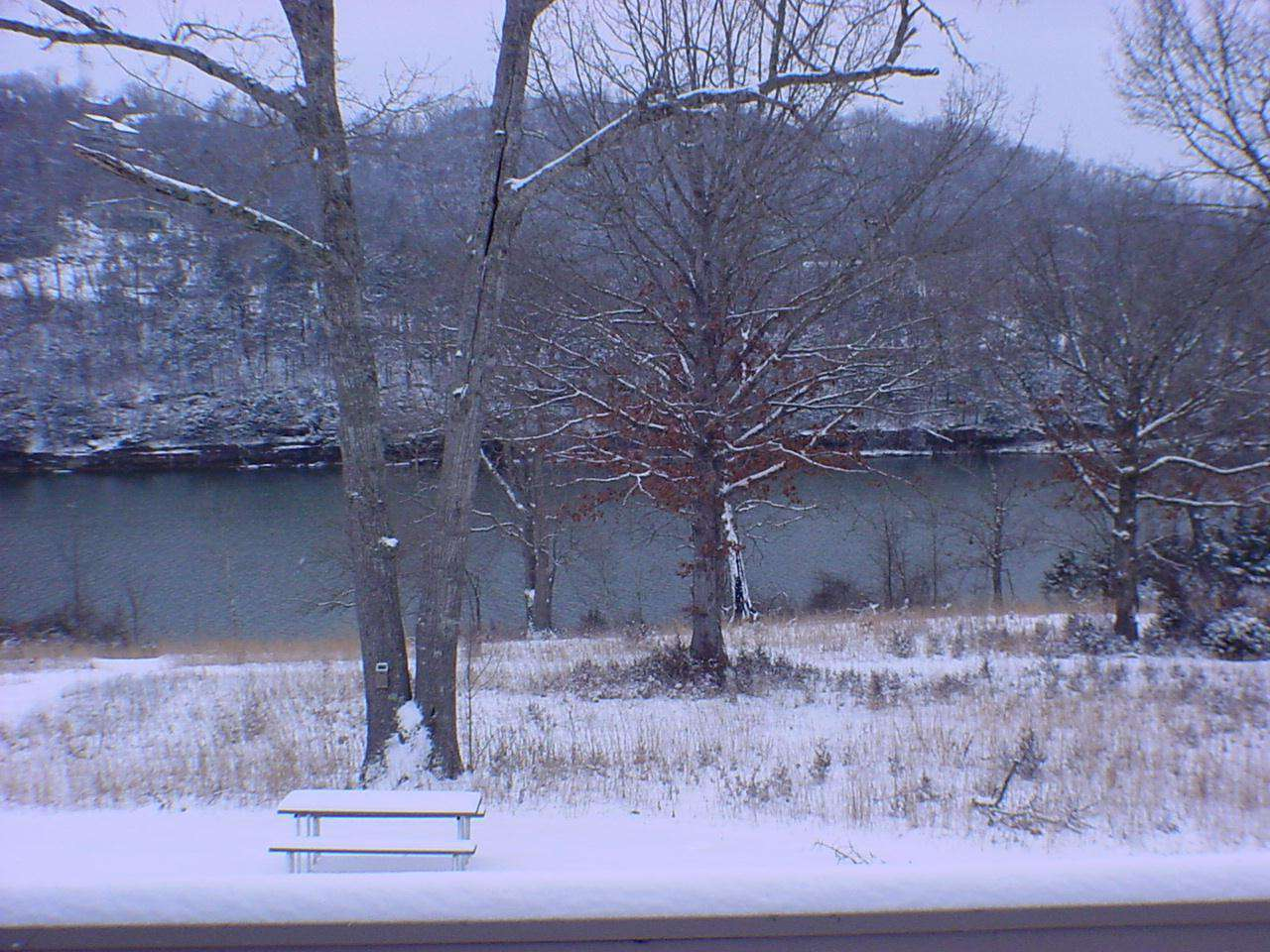 Winter lake view from deck