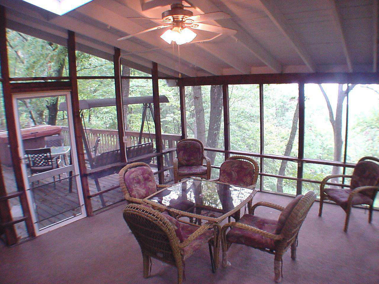 Screened in shaded porch