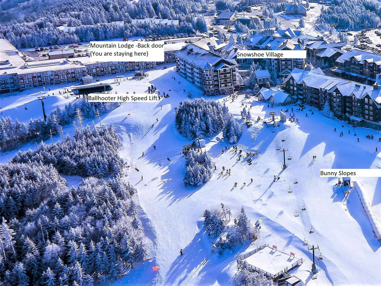 Mountain Lodge Back door, Ballhooter High Speed Lift and Village - All together - Best Location on the Mountain - property