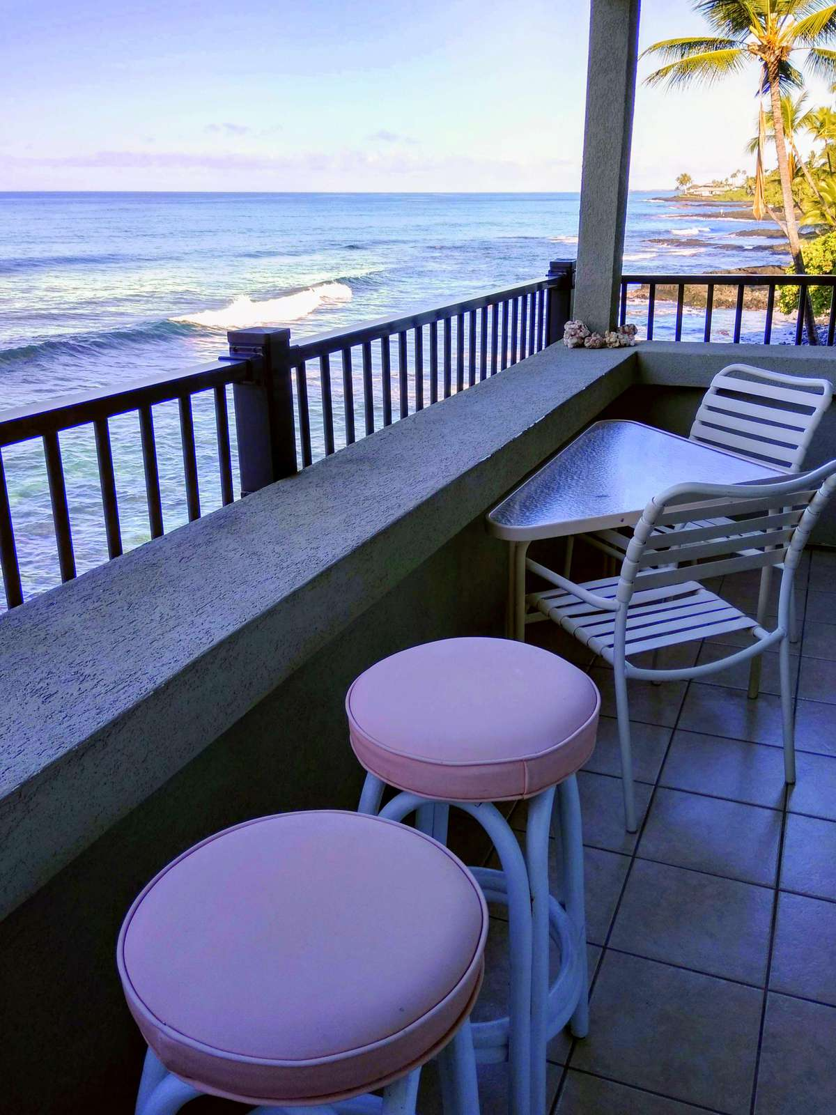 Enjoy your morning coffee overlooking the ocean.