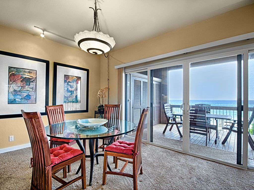 Dining area with ocean view.