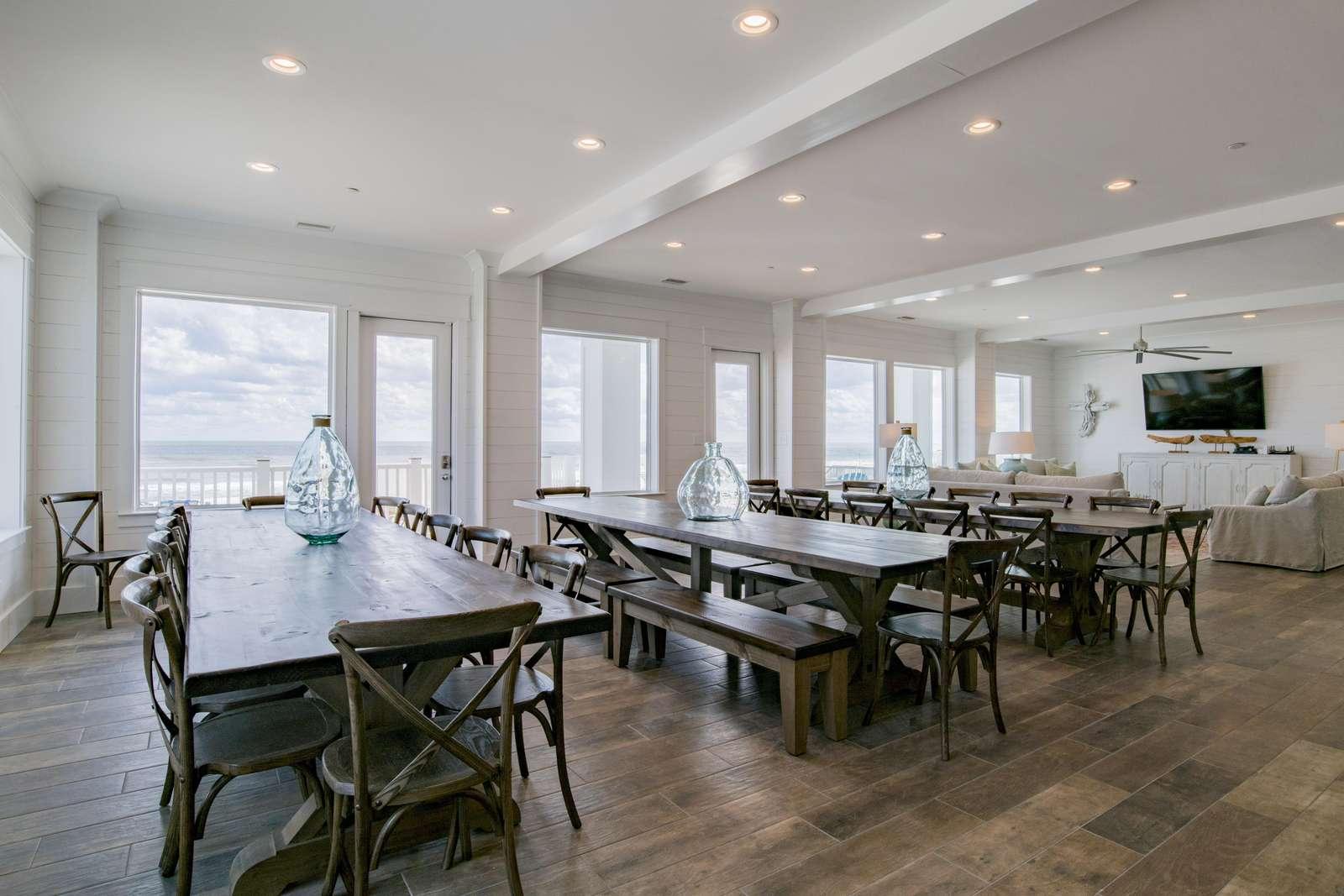3 custom built dining tables 12 ft Long. Seat 12 per Table.