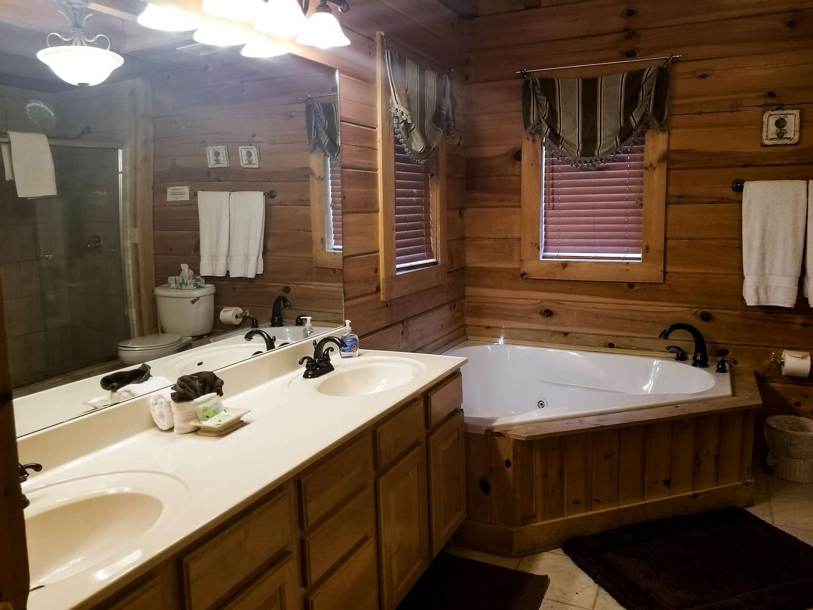 Master Bathroom with Jetted Tub and Shower Stall