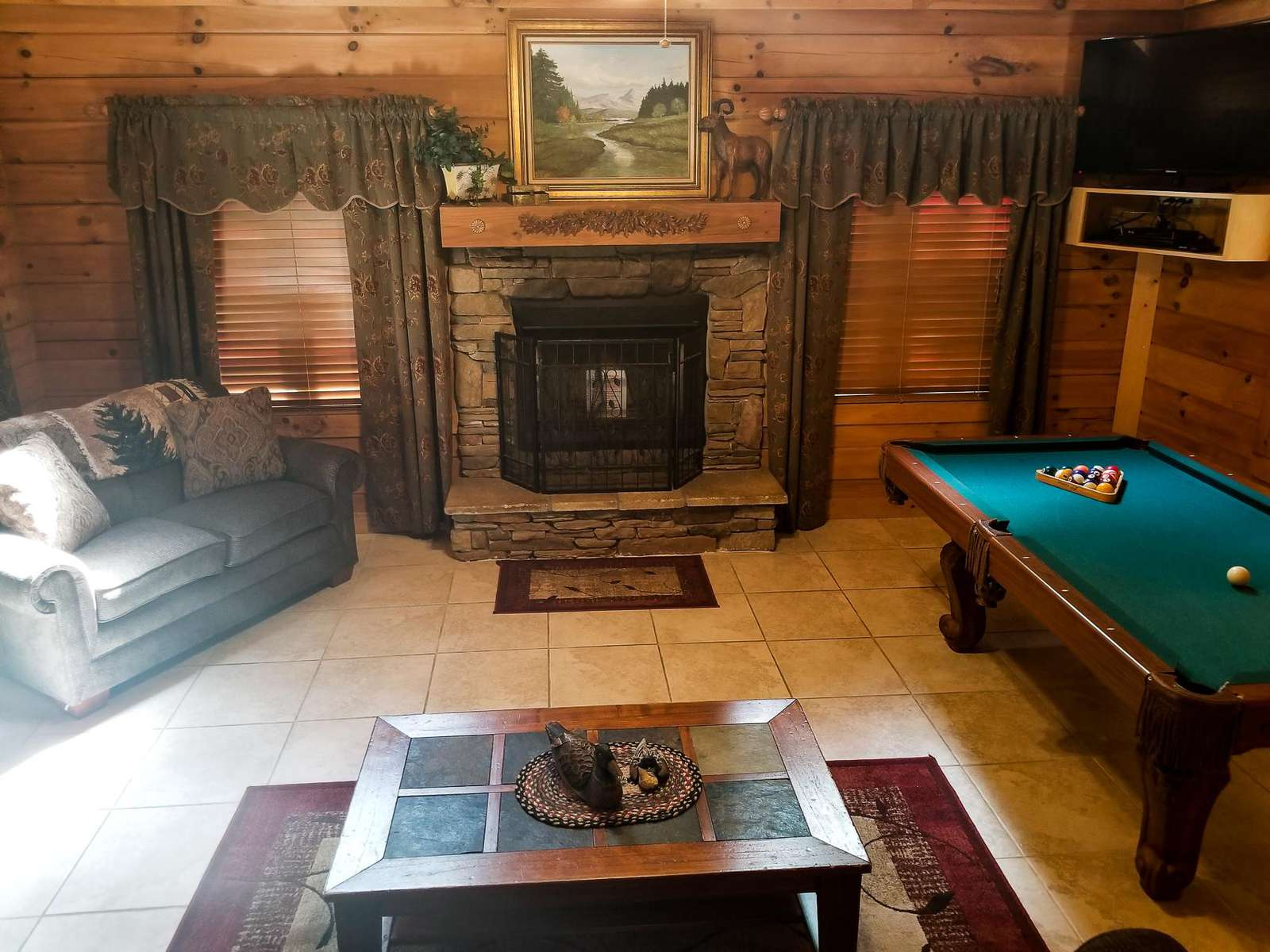 Woodburning Fireplace in Living Room