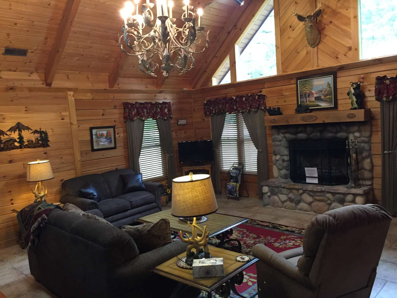 Woodburning Fireplace in Cozy Open Living Room
