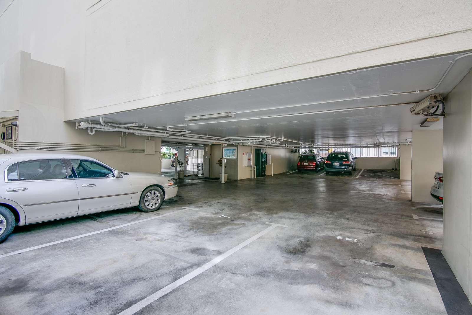 Secure parking garage.