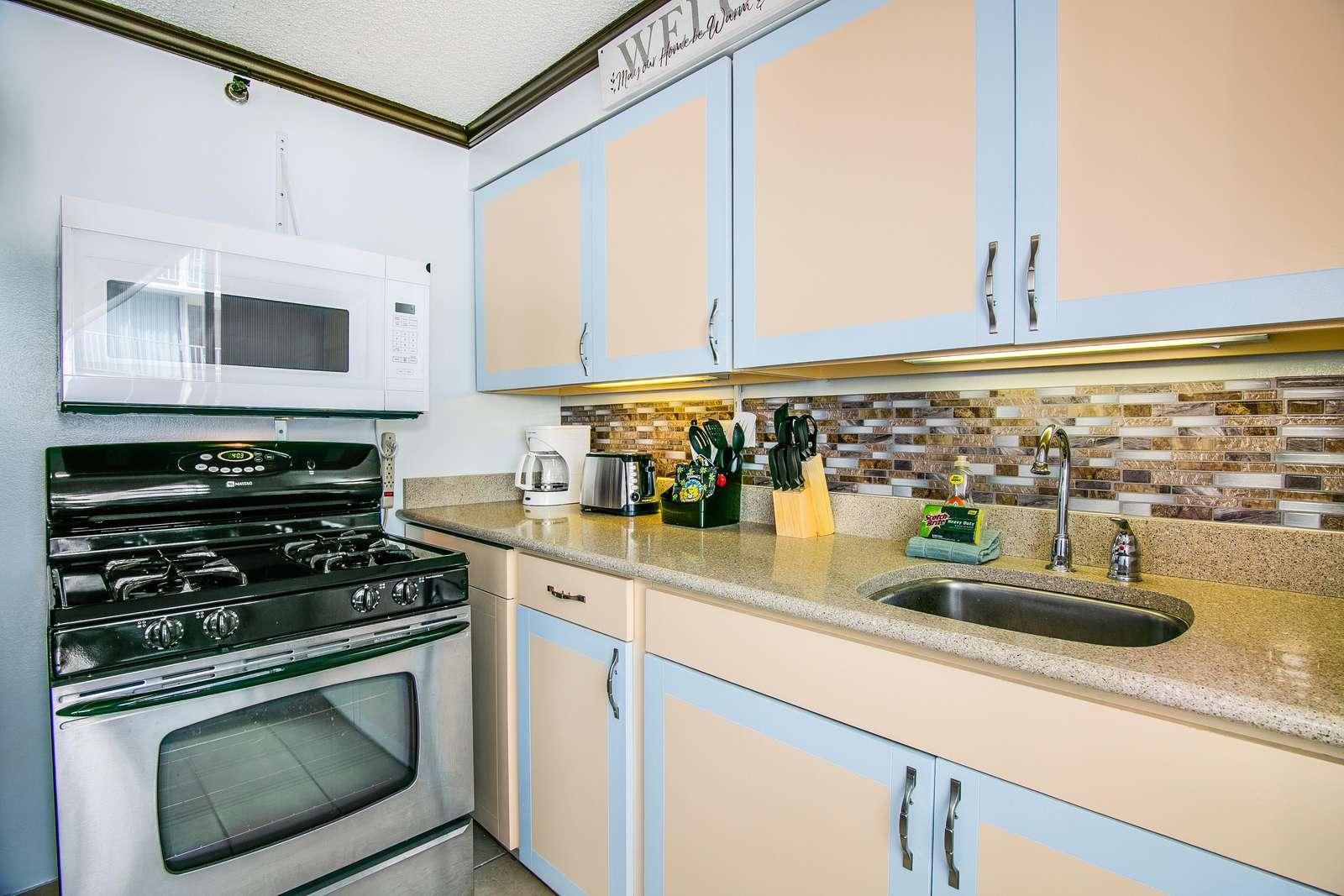 gas stove and modern microwave