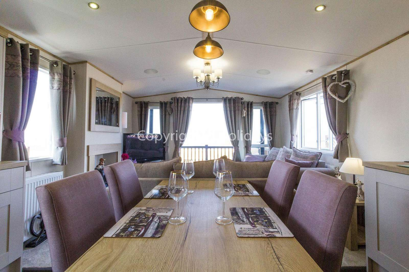Static home for hire at the Broadland Sands Holiday Park