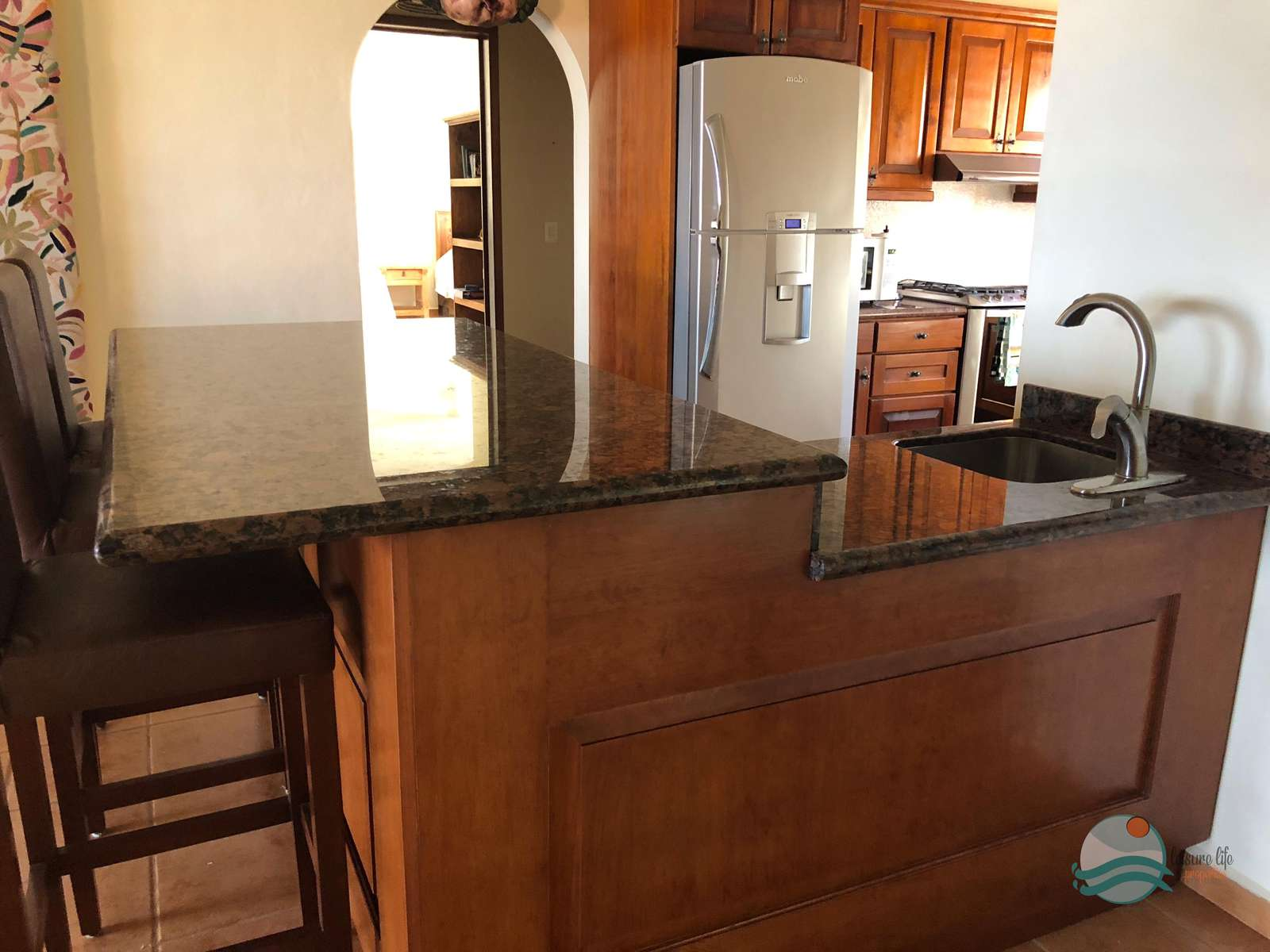 Island with dishwasher and prep sink