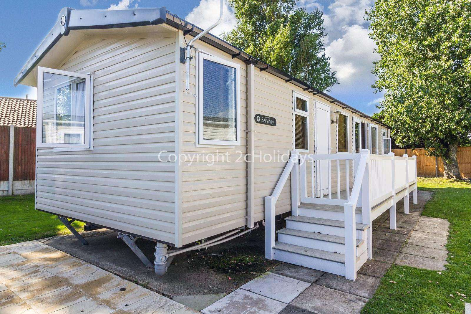 Caravan for hire with decking.