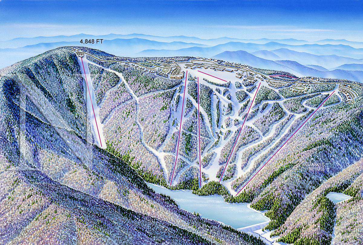 Lifts down the Mountain - 3D view