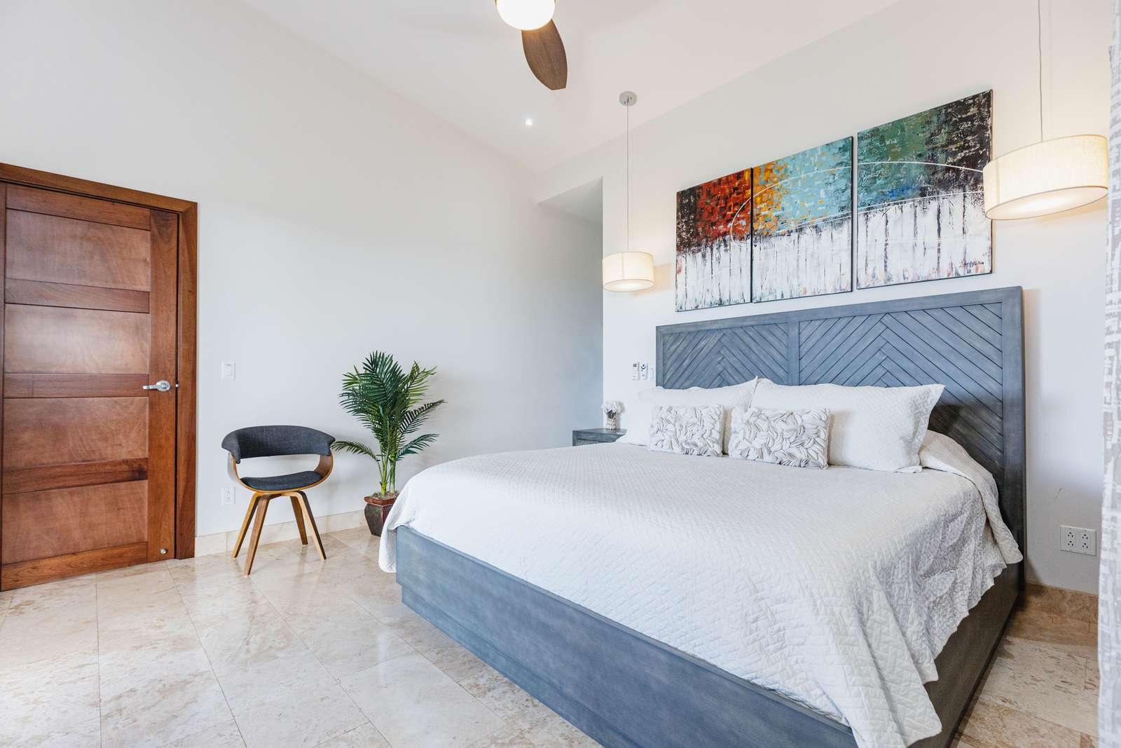 Master bedroom, king bed, private bathroom, Smart TV