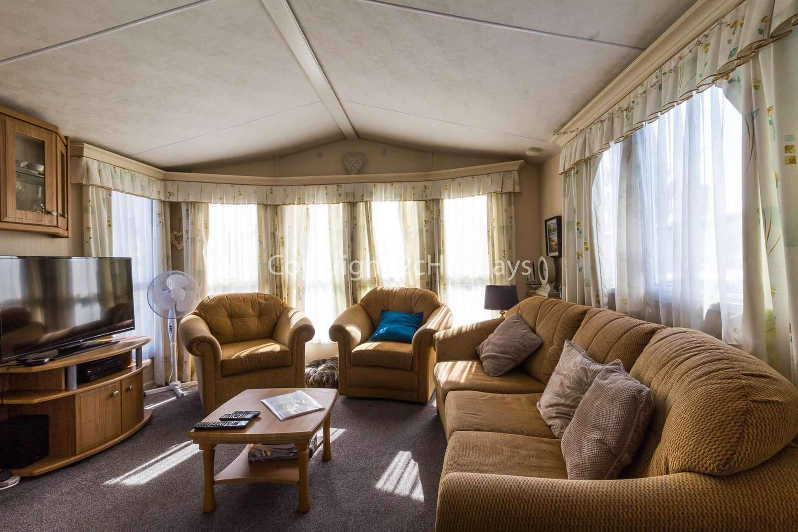 Spacious lounge area with a TV and gas fire!
