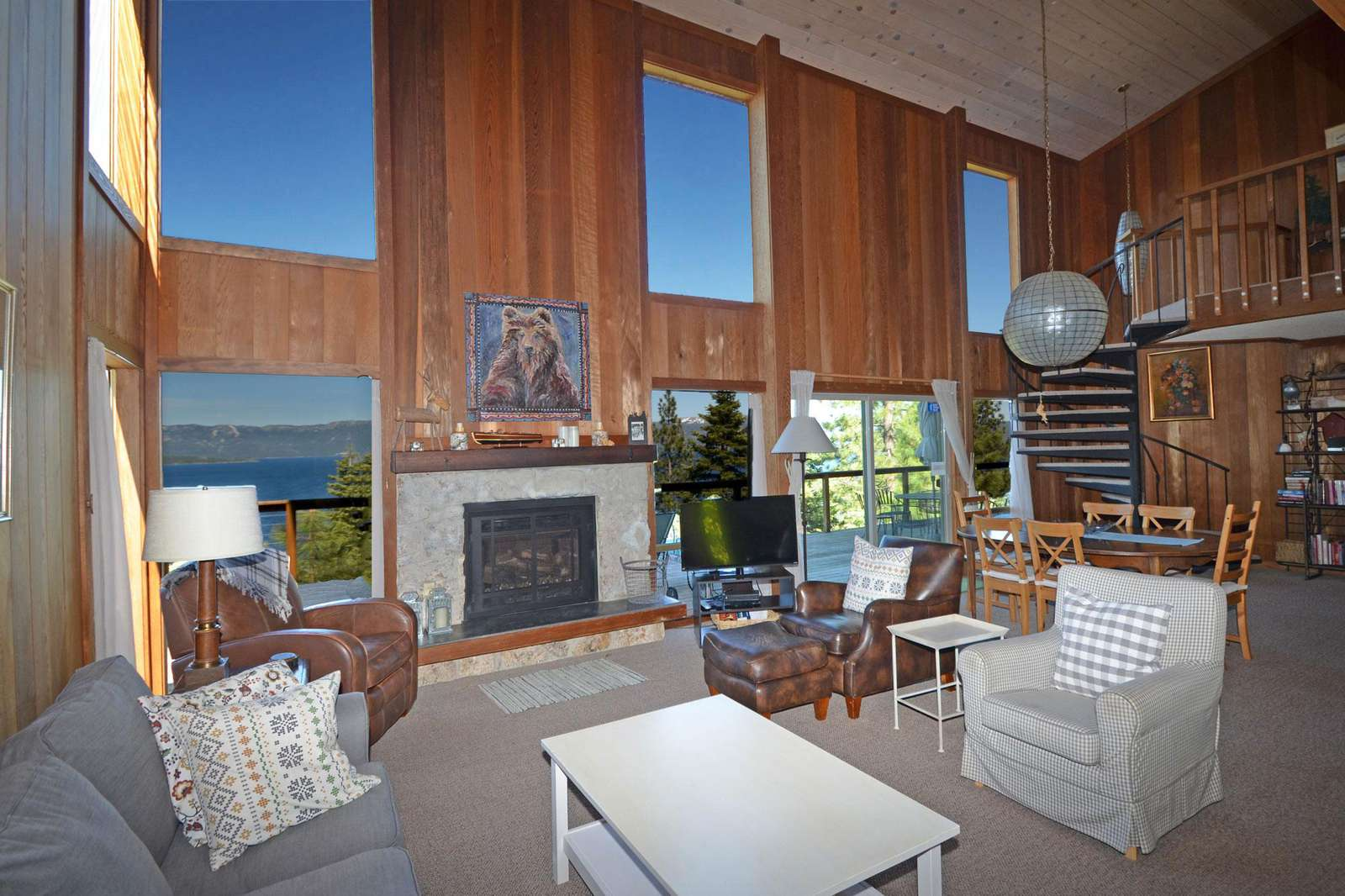 Cozy Living Room with Views of Lake Tahoe