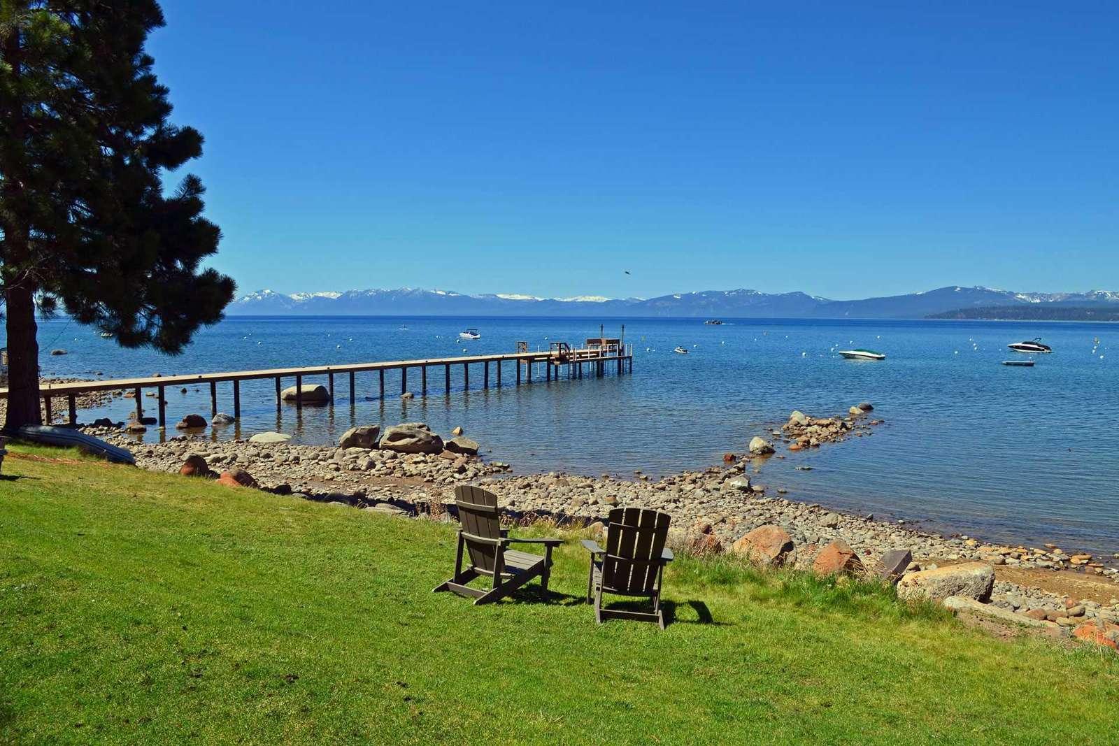 Lawn area next to Lake Tahoe