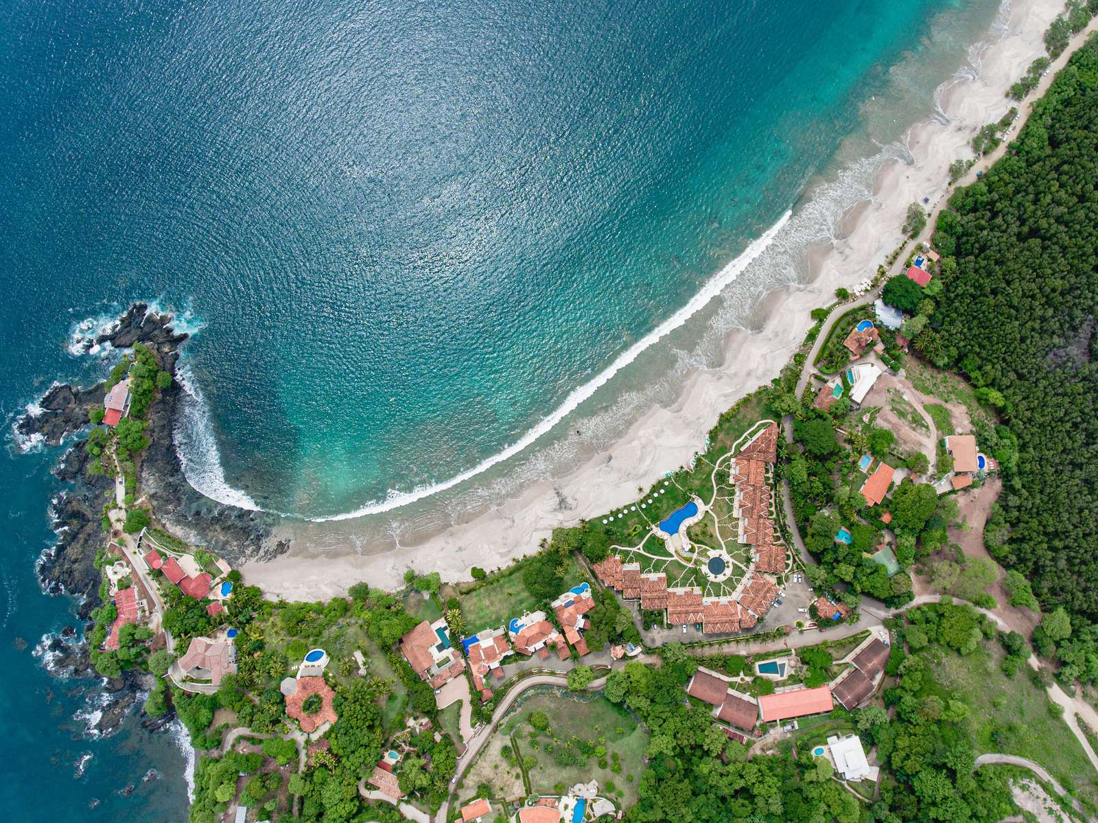 Aerial view of Flamingo beach near Casa Rosa