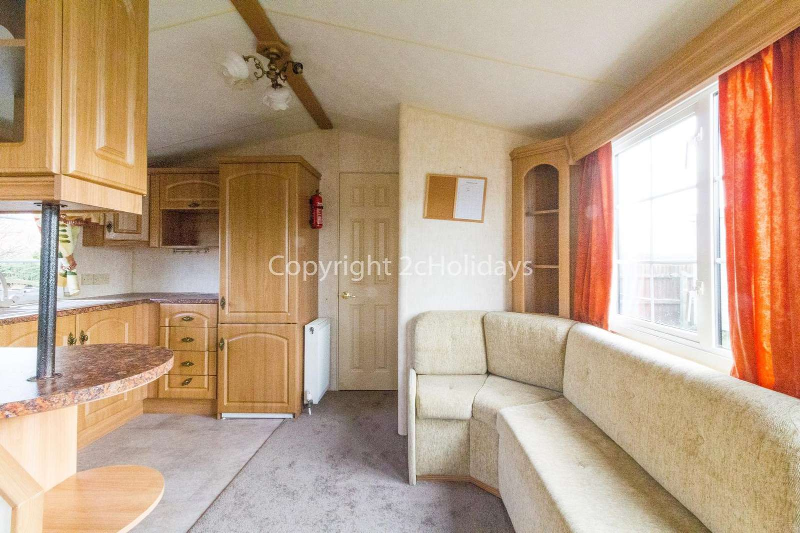 Bright and cosy static caravan for hire at the Lees caravan park.