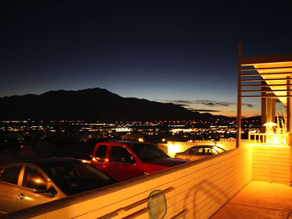 Mountain/valley view, night time