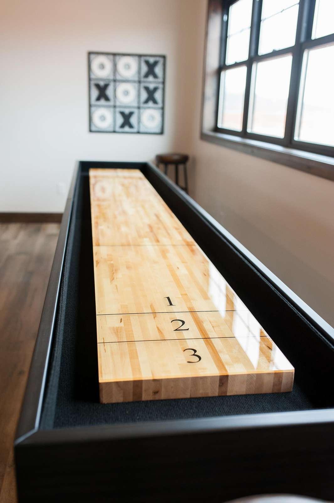Shuffle board in Game room loft