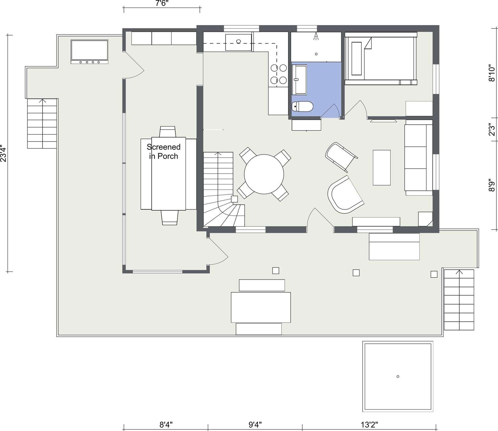 Main level floor plan - 2D