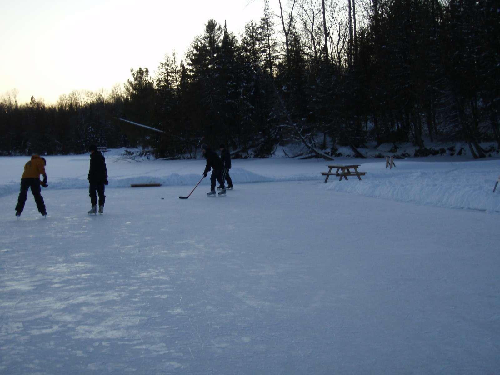 Ice hockey on the lake. So much fun!