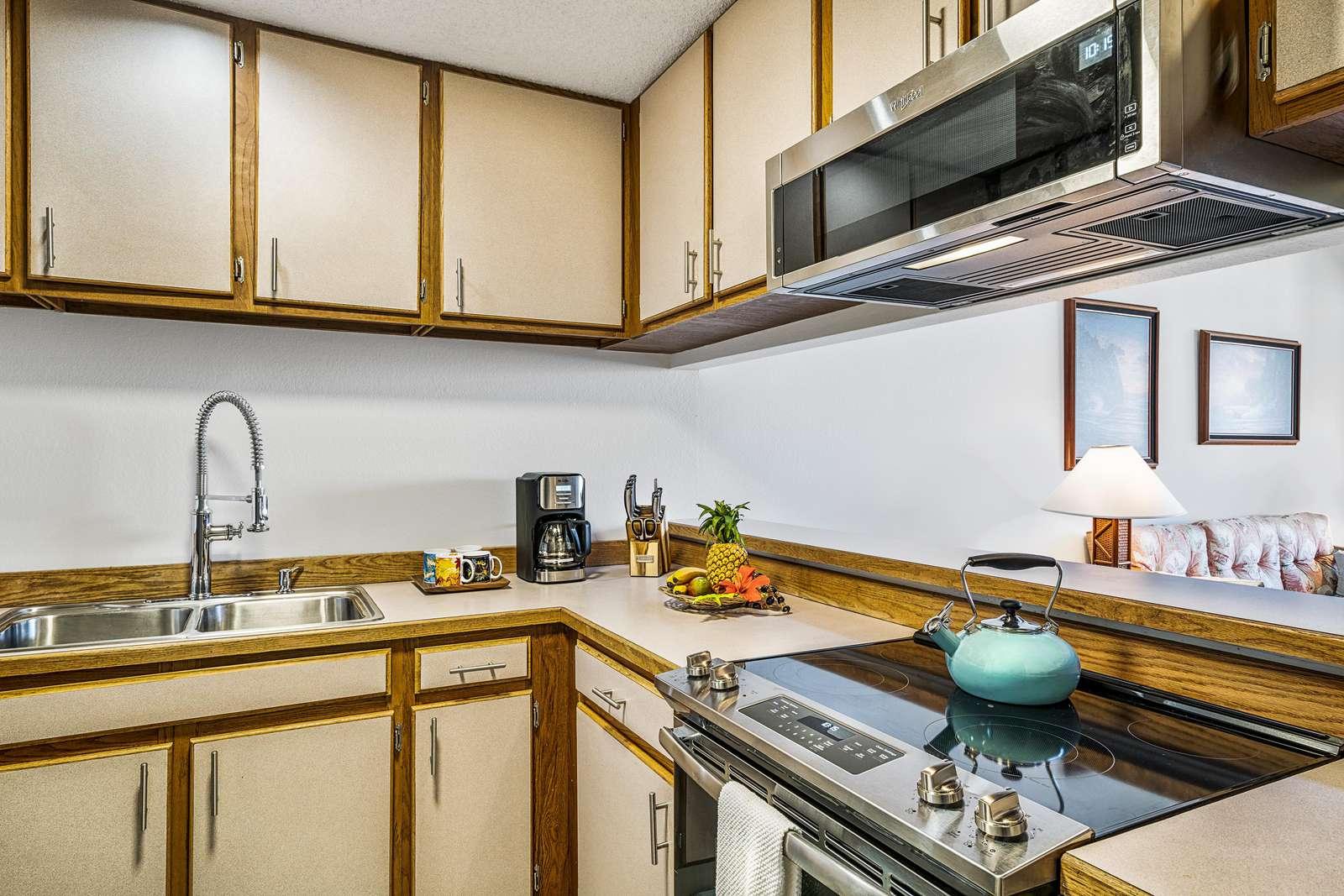 Kitchen with new range