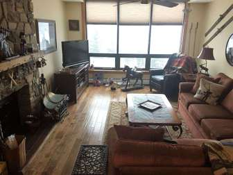cozy living room and views of Mount Snow thumb