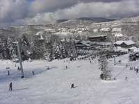 On Mount Snow.  Snow Mountain Village seen from slopes. thumb