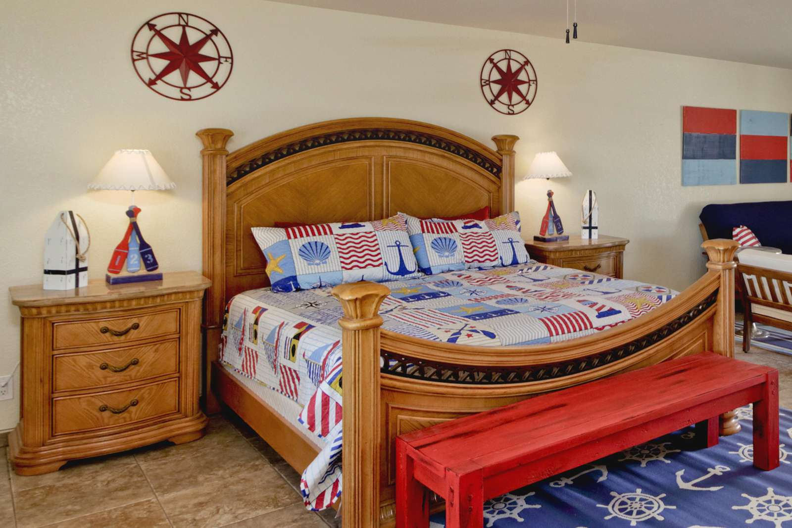 Nautical Master suite with King Bed