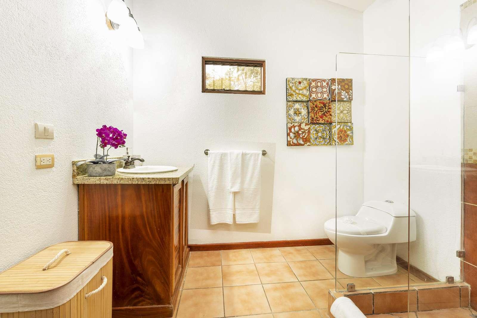 Spacious full bathroom, walk in shower, vanity area