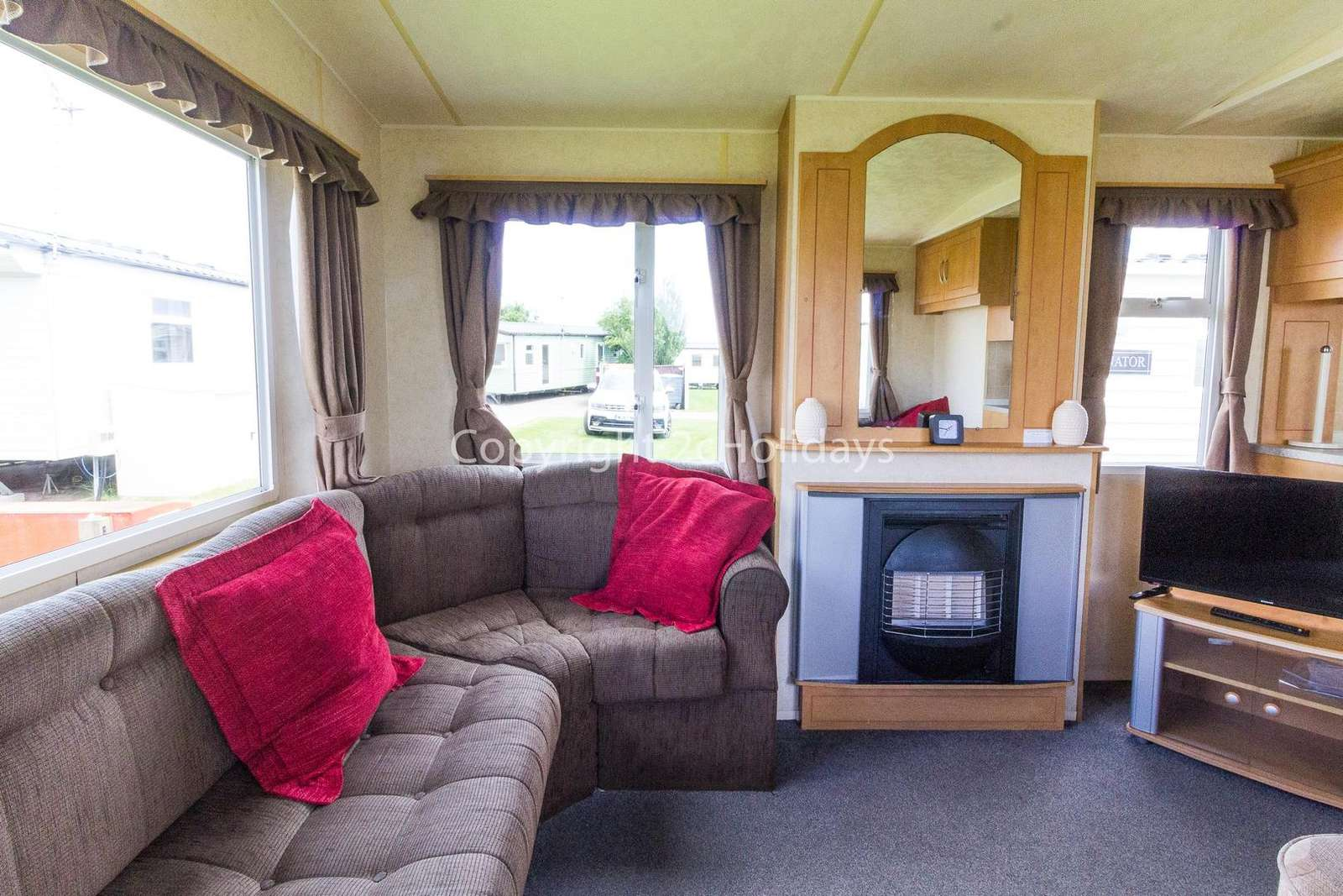 Homely caravan with an electric fire
