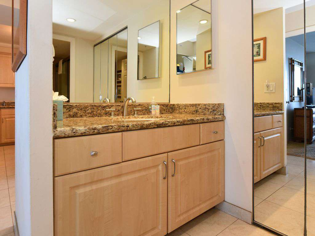 Bathroom Vanity Area with Granite Counter - Separate from Toilet/Shower