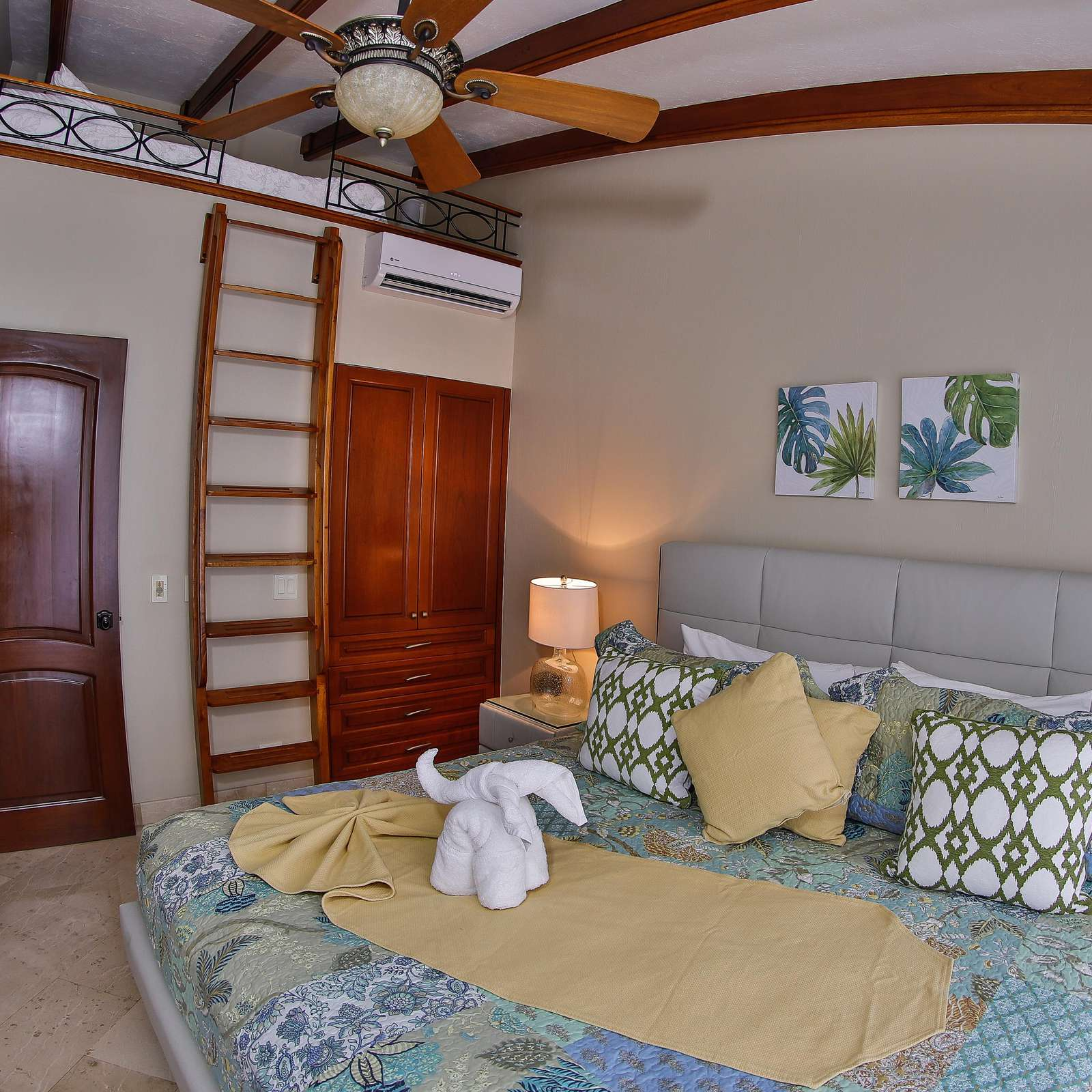 Guest bedroom, king bed and full size bed in the loft area