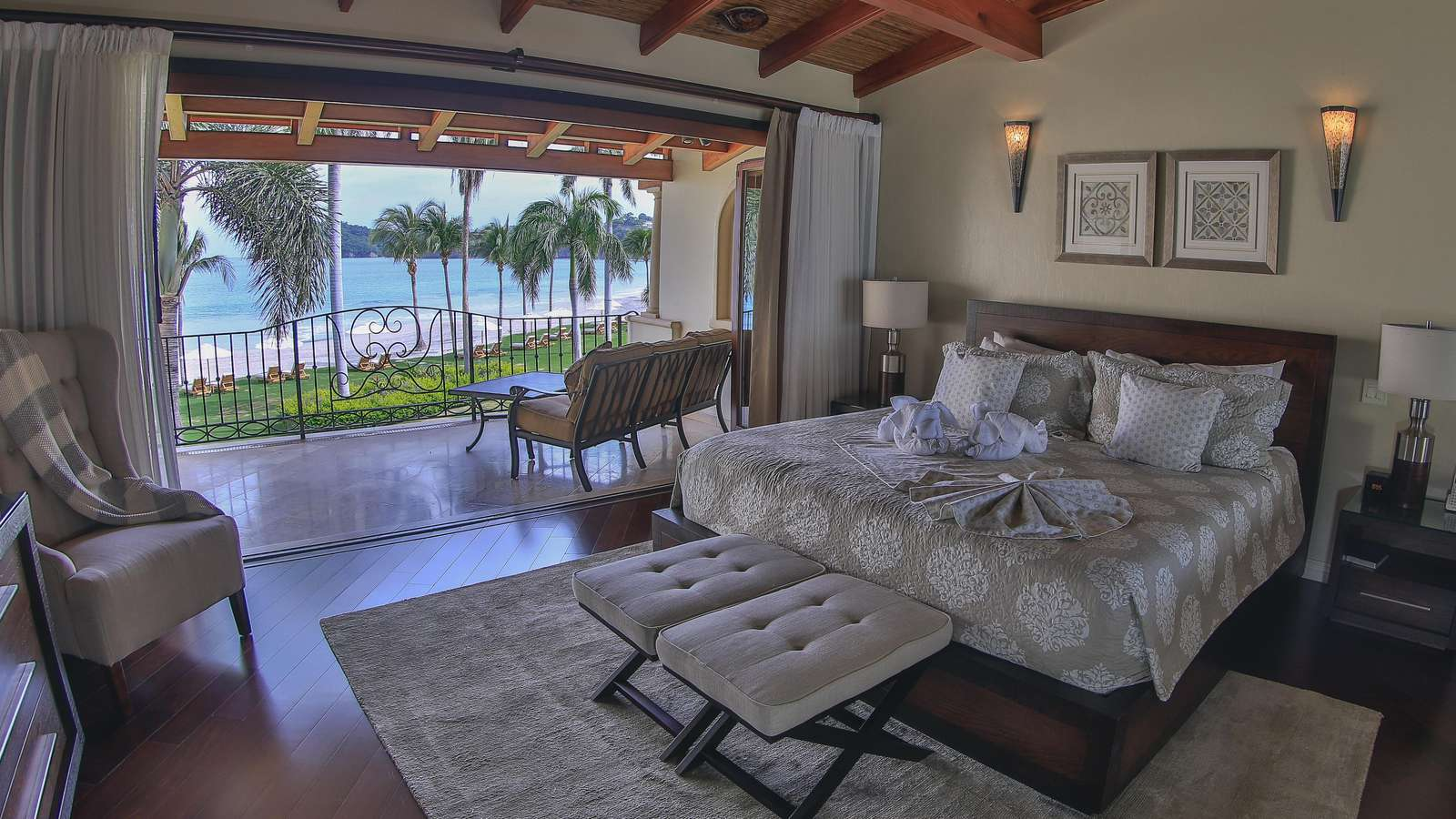 Master bedroom, king bed, ocean views, private bathroom, private balcony