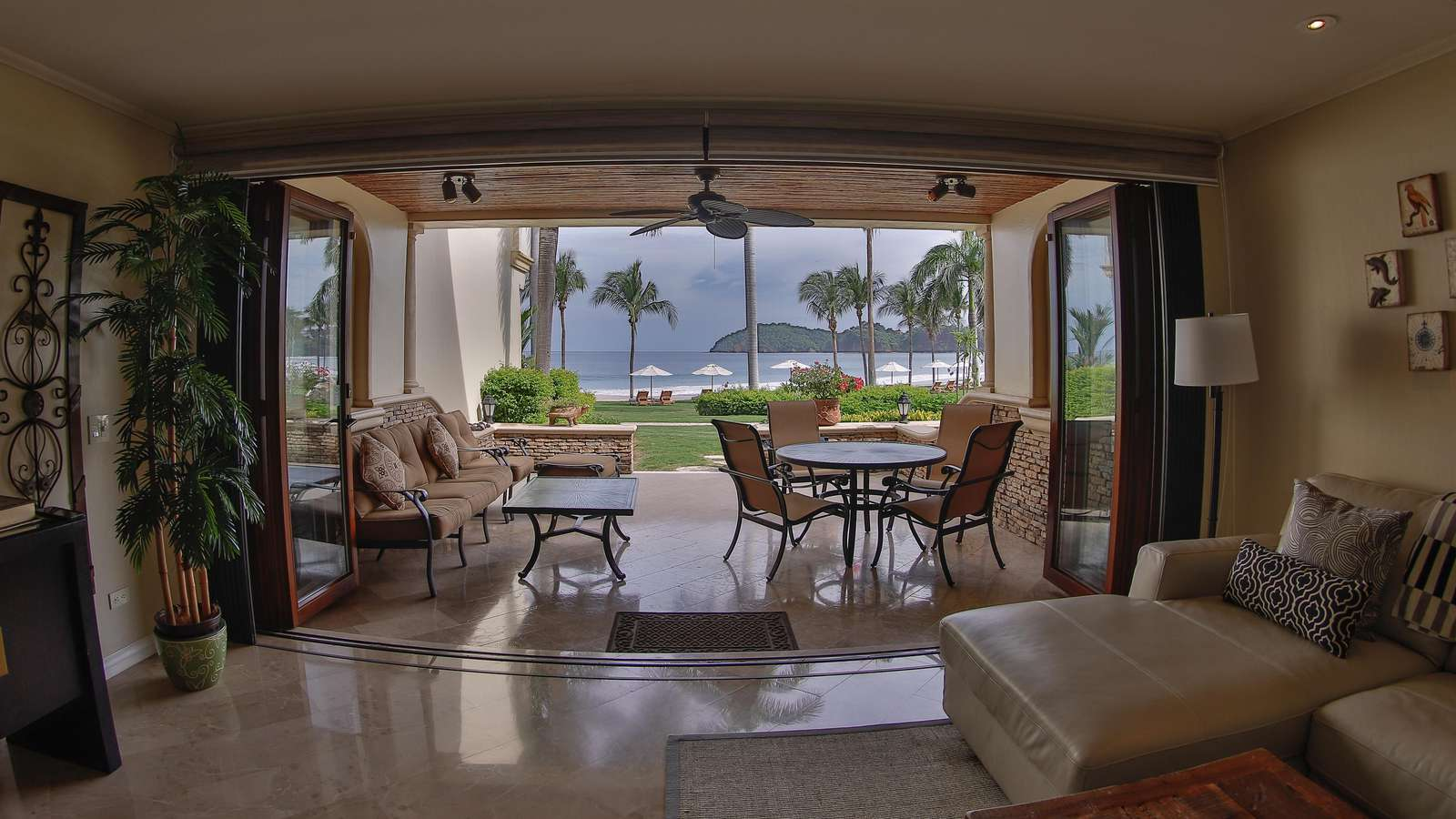 Oceanfront views, living area, access to balcony