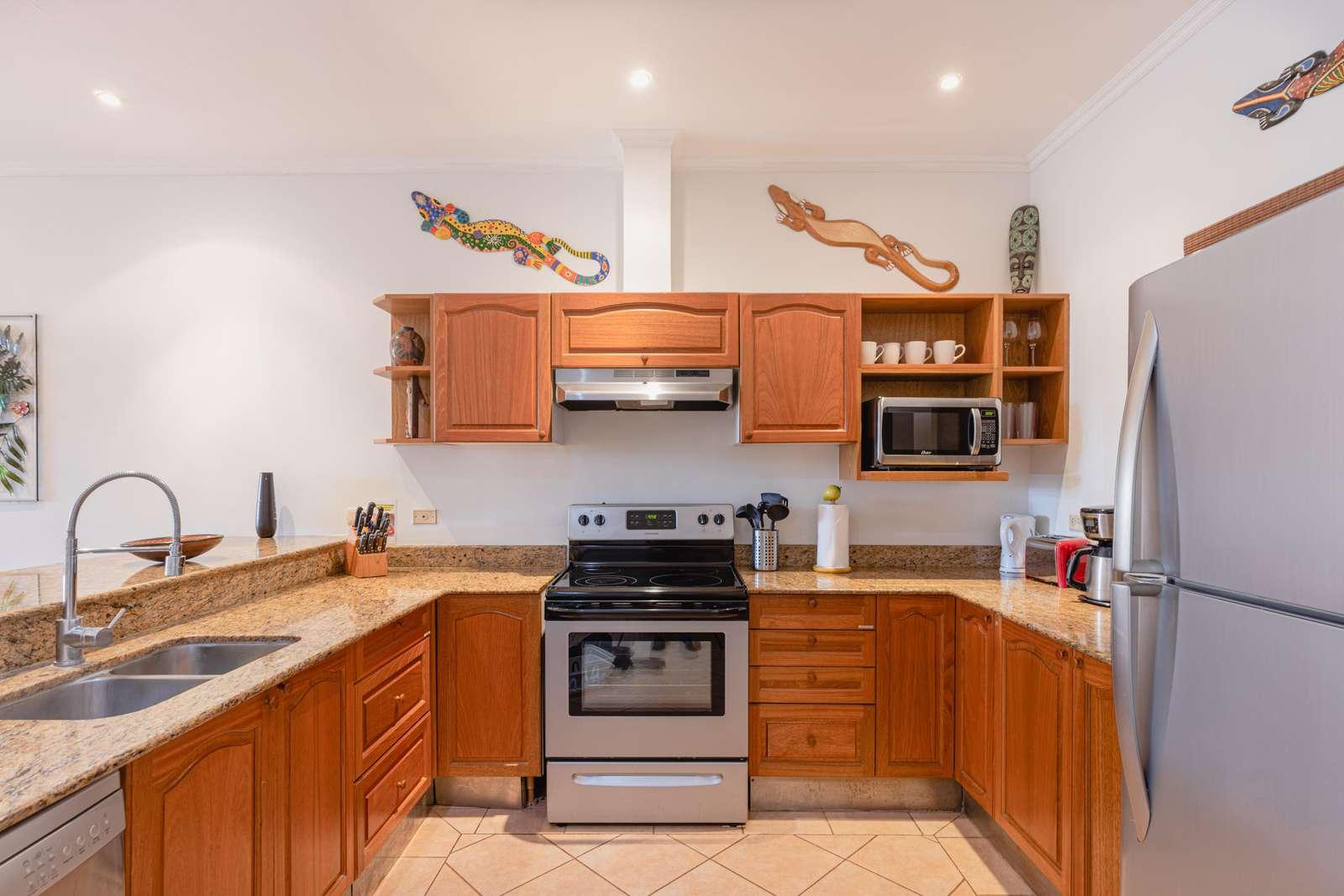 Gourmet kitchen, stainless steel appliances, granite countertops
